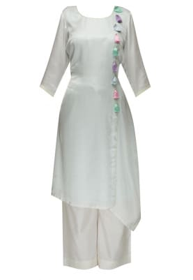 Ice Blue Kurta with Silk Thread and Bead Work On Front Panel with Palazzo