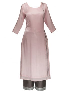 Baby Pink Asymmetric Kurta Hand Embroidered with Crop Palazzo
