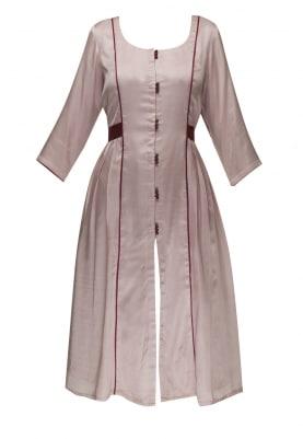 Dusky Pink Contrast Waist Patch Belt Gathered Dress