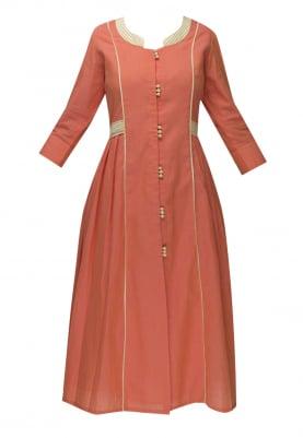 Coral Orange Waist Patch Belt Gathered Dress