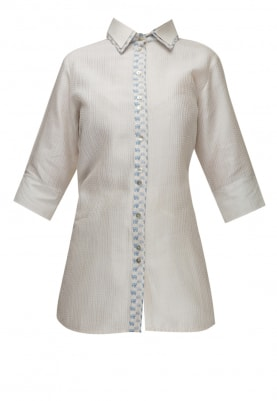 White Double Collar Shirt with Kantha Work