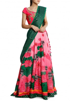 Pink Virtual Blouse and Flower Pot Embroidery and Pink Lotus Lehenga with Zari Tear Drop Emerald Dupatta