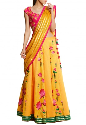 Fuschia Pink Blouse, Yellow Lotus and Polka Print Lehenga with Triangle Zari Dupatta
