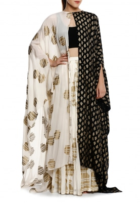 Half & Half Monochrome Gold Print Cape, Black Bustier with Ivory Crushed Skirt