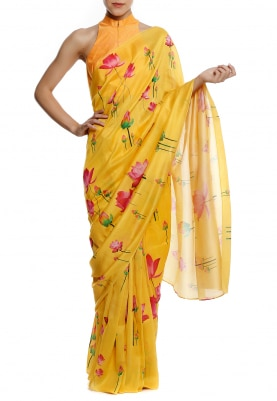 Yellow Lotus All-Over Cluster Print Saree with Polka Dots Print Blouse Fabric