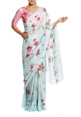 Aqua Blue Lotus All-Over Cluster Print Saree with Contrast Lotus Print Blouse Fabric
