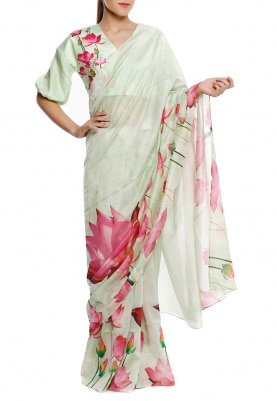 Mint Lotus Print Saree and Blouse Fabric