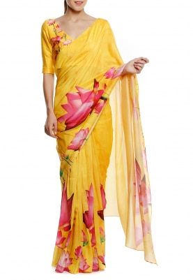 Yellow Lotus Print Saree and Blouse Fabric