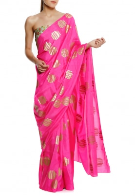 Pink Tribal Vase Gold Print Saree with Aqua Floral Bunch Contrast Blouse Fabric