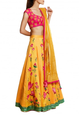 Fuschia Pink Blouse, Yellow Lotus and Polka Print Lehenga with Triangle Zari Dupatta