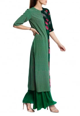 Mint Lotus Print Anarkali with Churidar and Pink Polka Scattered Dupatta