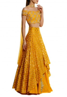 Yellow Embroidered Off-Shoulder Blouse with High-Low Double Layer Lehenga and Choker Dupatta