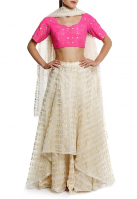 Pink Jaali Work Choli Blouse with Ivory Leaf High Low Lehenga and Dupatta