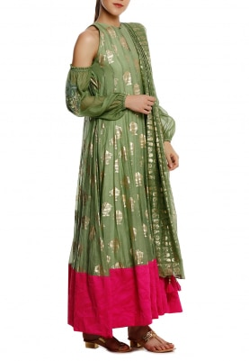 Mint with Gold Print Cold Shoulder Anarkali, Churidar and Dupatta