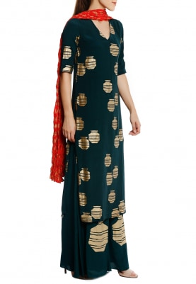 Teal Tribal Vase Kurta and Palazzo with Red Crushed Dupatta