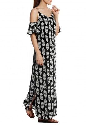 Black Cold Shoulder with Croc Print Maxi Dress