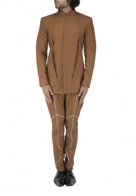 Layer Brown Bandhgala with Contrast Piping Detailing Trouser
