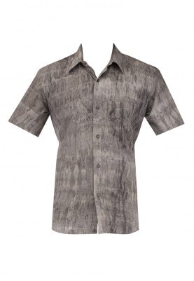 Grey Shibori Print Half Sleeve Shirt