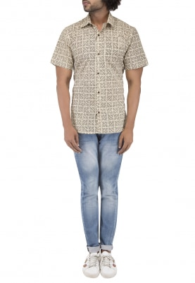 Beige Hand Block Printed Shirt