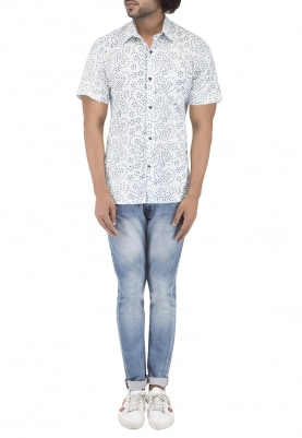White Hand Block Printed Shirt