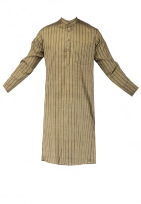 Light Brown Chinese Collar Cotton Khadi Kurta