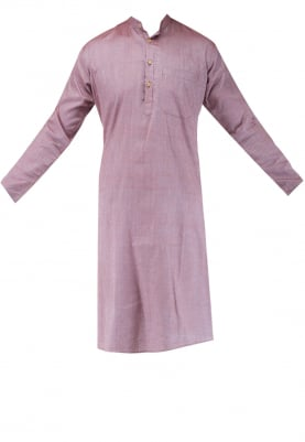 Wine Chinese Collar Cotton Khadi Kurta