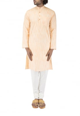 Beige Chinese Collar Cotton Khadi Kurta