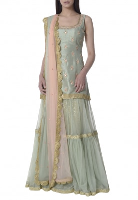 Jade Green Sharara with Embroidered Short Kurta and Shaded Dupatta