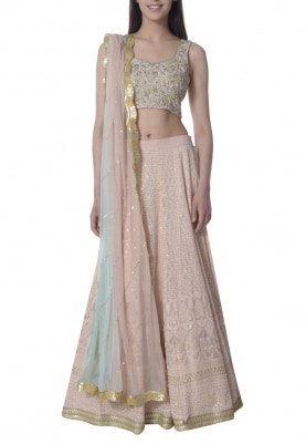 Blush Lucknowi Embroidered Lehenga, Choli with Double Shaded Dupatta
