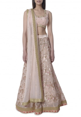 Rose Pink Lehenga with Embellishment On Blouse and Dupatta