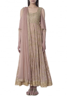 Salmon Pink Cold Shoulder Embroidered Anarkali with Border Work Dupatta