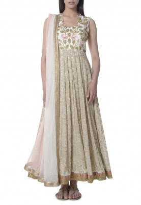 Ivory Sequin and Katdana Embroidered Anarkali with Shaded Bordered Dupatta
