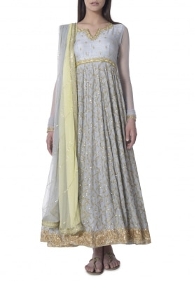 Grey and Lemon Yellow Hand Embroidered Anarkali with Shaded Border Dupatta