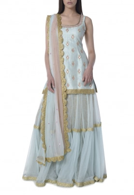 Sky Blue Sharara with Embroidered Short Kurta and Shaded Dupatta