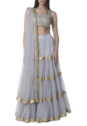 Grey Tiered Lehenga with Embellishment On Blouse and Dupatta