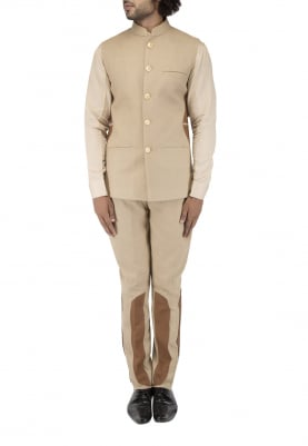Beige Bandhgala with Style Side Patch, Basic Shirt And Shoe Style Patch On Trouser