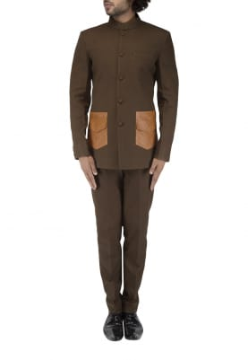 Olive Green Bandhgala with Tan Patch Pocket with Textured Trouser