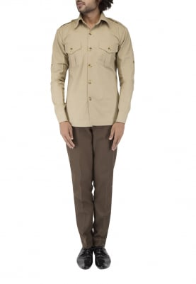 Khaki Safari Style Shirt with Side Vent Paired with Olive Green Naroow Trouser