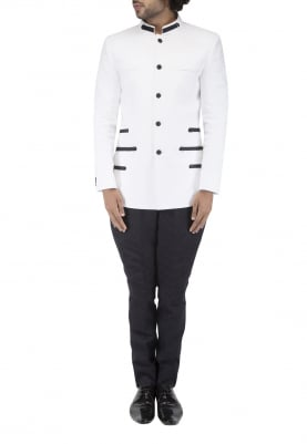 White with Navy Detailing Bandhgala with Horizontal V Pink Tuck Breeches