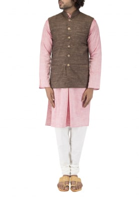 Brown Chinese Collar Cotton Khadi Jacket with Contrast Button