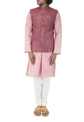 Maroon Chinese Collar Cotton Khadi Jacket with Contrast Button