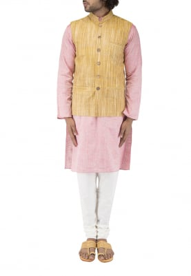 Orange Chinese Collar Cotton Khadi Jacket with Contrast Button
