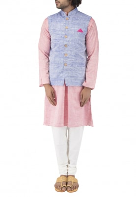 Purple Chinese Collar Cotton Khadi Jacket with Contrast Button