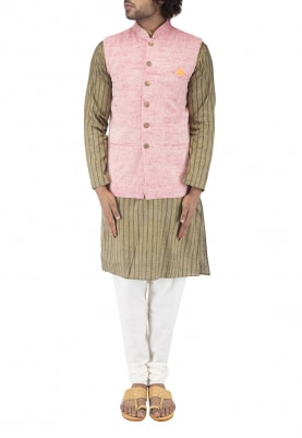 Pink Chinese Collar Cotton Khadi Jacket with Contrast Button