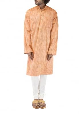 Orange Chinese Collar Cotton Khadi Kurta