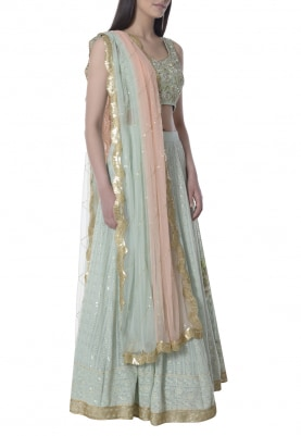 Mint Lucknowi Embroidered Lehenga, Choli with Double Shaded Dupatta