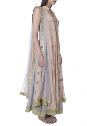 Peach and Grey Double Layer Embroidered Anarkali with Shaded Dupatta