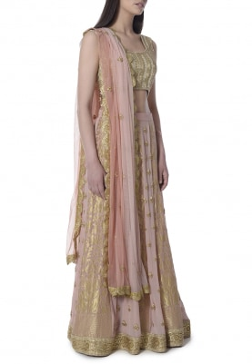 Salmon Pink Zardozi, Pearl and Katdana and Sequin Panel Embroidered Banarsi Lehenga with Embellished Blouse and Shaded Scalloped Border Dupatta