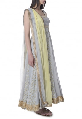 Grey Beads, Pearl and Kundan Panel Embroidered Anarkali with Lemon Shaded Bordered Dupatta