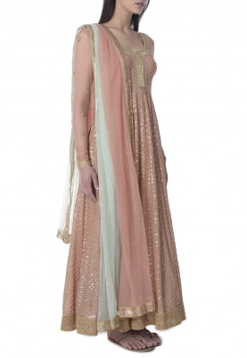 Blush Pink Sequin Embroidered Anarkali with Shaded Bordered Dupatta